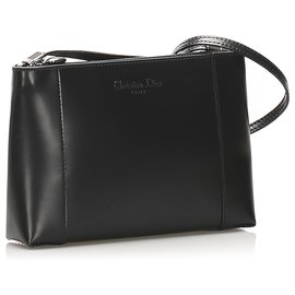 Dior-Dior Black Leather Shoulder Bag-Black