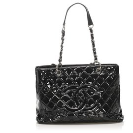 Chanel-Chanel Black Grand Shopping Patent Leather Tote Bag-Black