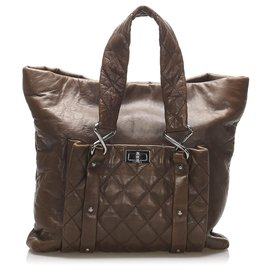 Chanel-Chanel Brown 8 Knots Lambskin Tote Bag-Brown,Dark brown