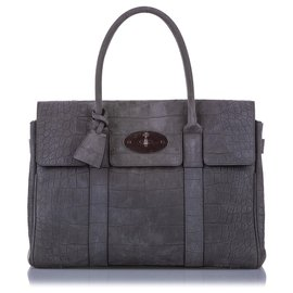 Mulberry-Mulberry Gray Embossed Bayswater Suede Handbag-Grey