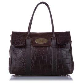Mulberry-Mulberry Brown Embossed Bayswater Leather Handbag-Brown,Dark brown