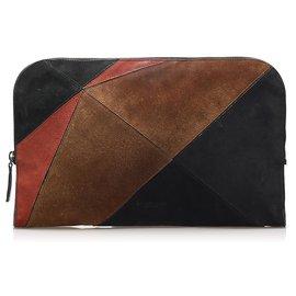 Burberry-Burberry Multi Patchwork Suede Clutch Bag-Multiple colors