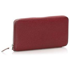 Hermès-Hermes Red Epsom Azap Wallet-Red