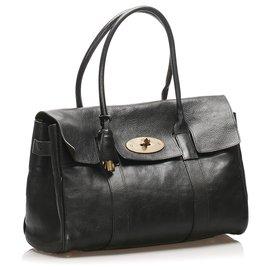 Mulberry-Mulberry Black Bayswater Leather Handbag-Black