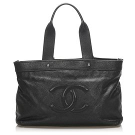 Chanel-Chanel Black Timeless Lambskin Leather Tote Bag-Black