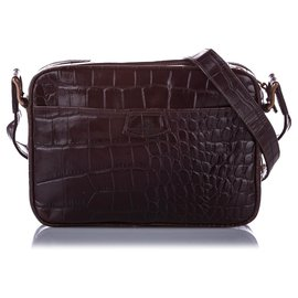 Mulberry-Mulberry Brown Embossed Leather Crossbody Bag-Brown,Dark brown
