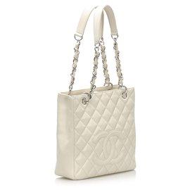 Chanel-Chanel White Caviar Petite Shopping Tote Bag-White
