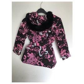 Versace-Manteaux fille-Noir,Rose