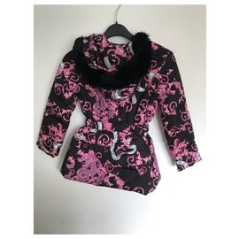 Versace-Girl Coats outerwear-Black,Pink