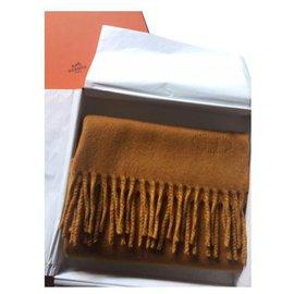 Hermès-Hermès cashmere scarf-Mustard