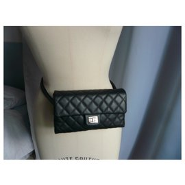 Chanel-CHANEL Belt bag 2.55 caviar leather-Black