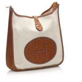 Hermès-Hermes Brown Canvas Evelyne I GM-Brown,Beige