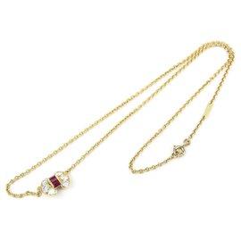 Van Cleef & Arpels-Van Cleef et Arpels Gold 18Collier pendentif Celestine diamant rubis K-Rouge,Doré