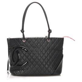 Chanel-Chanel Black Cambon Ligne Lambskin Leather Tote Bag-Black