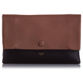 Céline-Celine Brown All Soft Leather Clutch Bag-Brown,Black