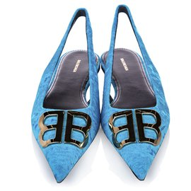 Balenciaga-Balenciaga Blue BB Slingback Velour Flats-Blue,Light blue
