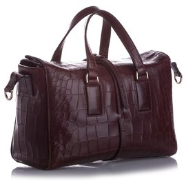 Mulberry-Mulberry Brown Roxette Croc Embossed Leather Satchel-Brown,Dark brown