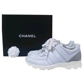 Chanel-CHANEL Textile Multicoloured Sneakers Sz.37,5 auth-White