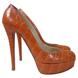 Christian Louboutin-CHRISTIAN LOUBOUTIN Bianca  Crocodile Pumps Heels Shoes Sz.39-Orange