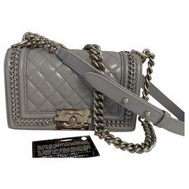 Chanel-Chanel Boy mini bag-Silvery,Grey