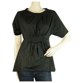 Moncler-MONCLER T-shirt noir Girocollo haut chemisier élastiqué à manches courtes sz S-Noir