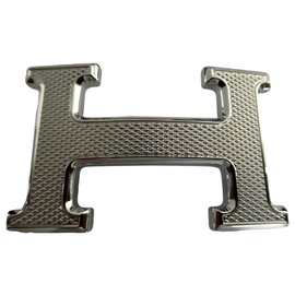 Hermès-Hermès Gürtelschnalle 5382 in silberner Palladium-plattierter Stahl-Guilloche-Silber