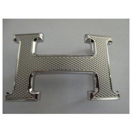 Hermès-Fivela de cinto Hermès 5382 em guilhoché de aço folheado a paládio prata-Prata