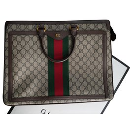 Gucci-Gucci Ophidia GG Briefcase-Brown,Beige