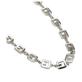 Givenchy-Givenchy Silver lined G Link Necklace-Silvery