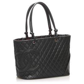 Chanel-Chanel Black Cambon Ligne Lambskin Tote Bag-Black