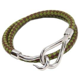 Hermès-Bracelet en cuir tressé vert Hermes-Argenté,Vert