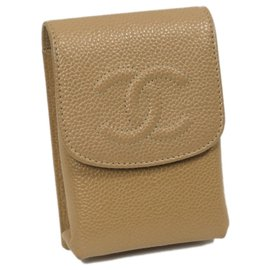 Chanel-Chanel Brown CC Caviar Cigarette Case-Brown,Beige