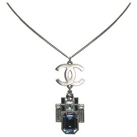 Chanel-Chanel Gray CC Stone Pendant Necklace-Other,Grey