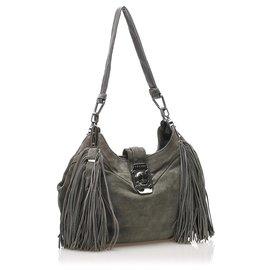 Céline-Celine Gray Suede Leather Shoulder Bag-Grey