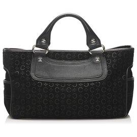 Céline-Celine Black C Macadam Boogie Suede Handbag-Black