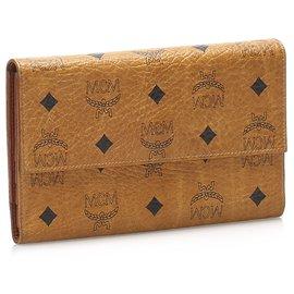 MCM-MCM Brown Tri-fold Visetos Leather Small Wallet-Brown,Black