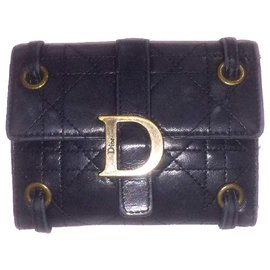 Dior-DIOR vintage wallet in Cannage leather-Black