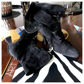 Chanel-CHANEL suede ankle boots-Black
