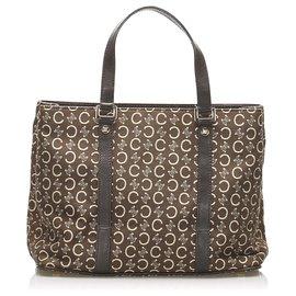 Céline-Celine Brown C Macadam Canvas Handbag-Brown