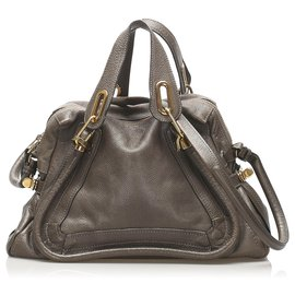 Chloé-Chloe Gray Paraty Leather Satchel-Grey