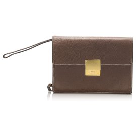Céline-Celine Brown Leather Clutch Bag-Brown