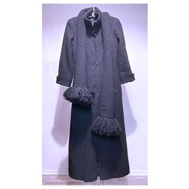 Chanel-tweed coat and scarf-Black