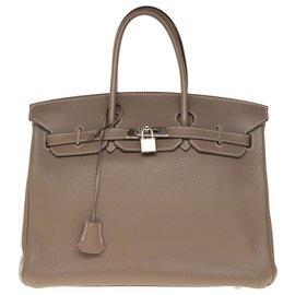 Hermès-Superb Hermès Birkin handbag 35 In Togo Togo leather, palladium silver metal trim in very good condition!-Grey