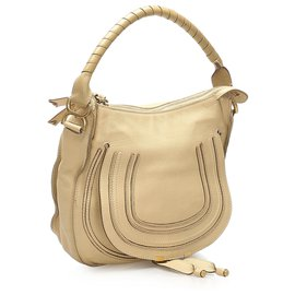 Chloé-Chloe Brown Marcie Leather Handbag-Brown,Beige