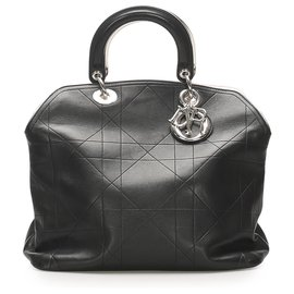 Dior-Dior Black Cannage Granville Leather Satchel-Black
