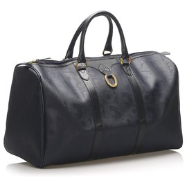 Dior-Dior Blue Dior Oblique Coated Canvas Travel Bag-Blue,Navy blue