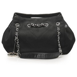 Chanel-Chanel Black Chevron Nylon Shoulder Bag-Black