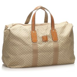 Céline-Celine Brown Macadam Travel Bag-Brown,Beige
