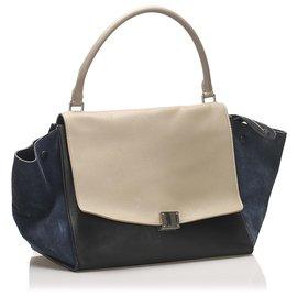 Céline-Celine Black Trapeze Tricolor Leather Handbag-Black,White