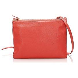 Céline-Celine Red Trio Leather Shoulder Bag-Red